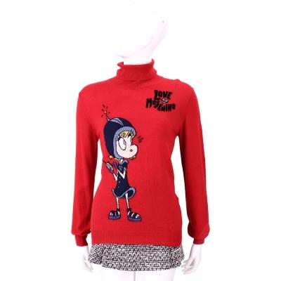 LOVE MOSCHINO 紅色天線女孩羊毛針織上衣