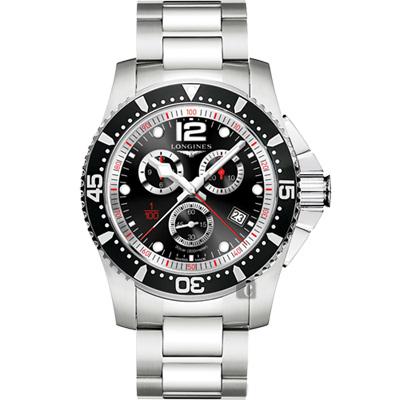 LONGINES浪琴 HydroConquest 1/100 計時腕錶-黑/47mm