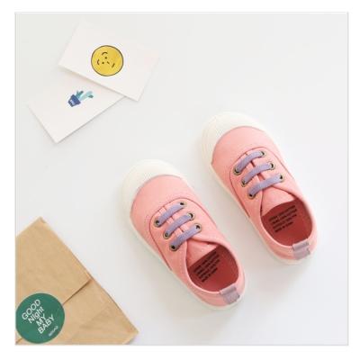 玩弄色彩搭配款四季兒童帆布鞋-粉
