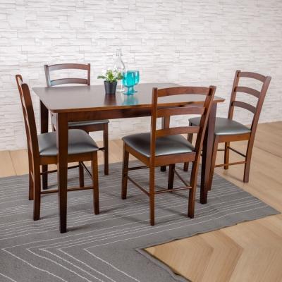 簡約風 愛得乃納 餐桌+黑咖啡斯巴瑞排骨椅-110x70x75cm