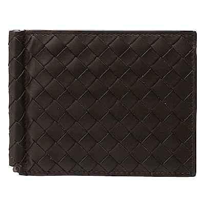BOTTEGA VENETA 經典編織小羊皮軸釦萬用卡夾/短夾(咖啡色)