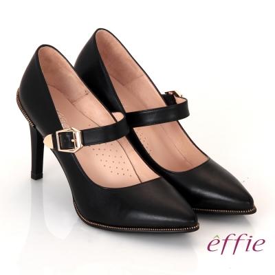 effie輕透美型 真皮素面金屬飾扣鬆緊帶高跟鞋 黑