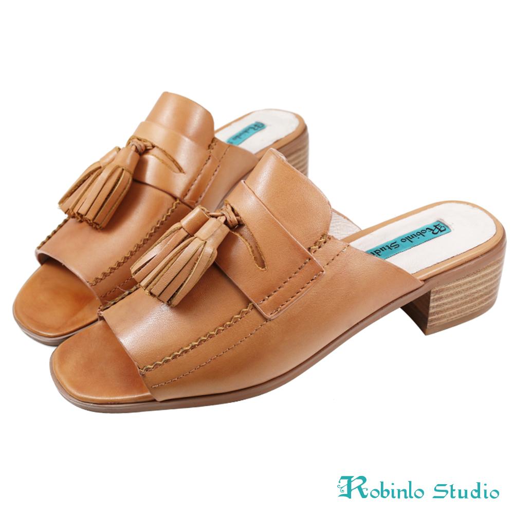 Robinlo Studio 文青流蘇方頭真皮涼拖鞋 棕色