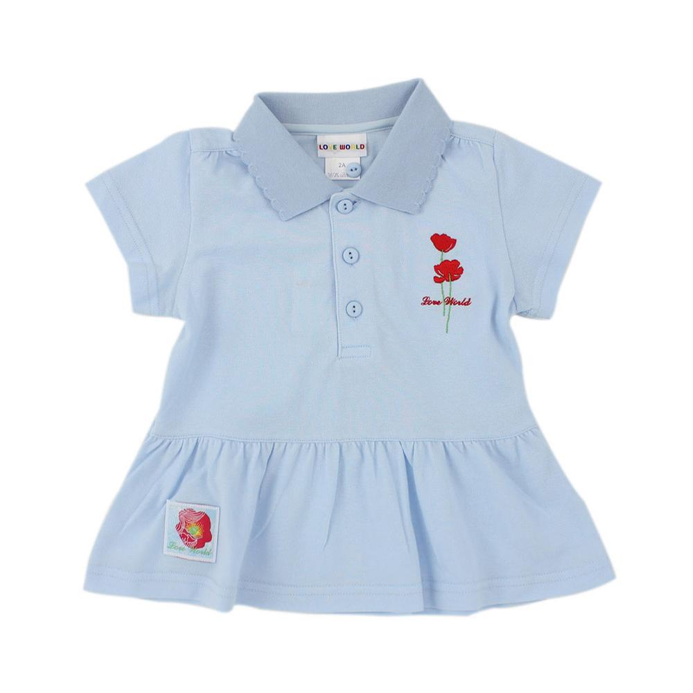 愛的世界 純棉罌粟花POLO短袖上衣/2歲