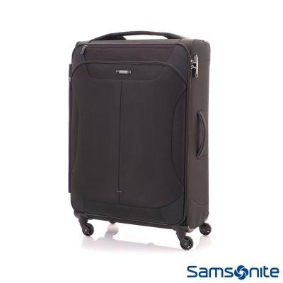 Samsonite新秀麗24吋Stingray多功能收納可擴充布面TSA海關鎖行李箱(黑)