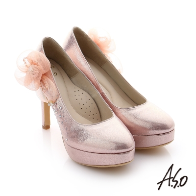 A.S.O 璀璨注目 真皮立體飾花金蔥布貼鑽高跟鞋 粉紅色