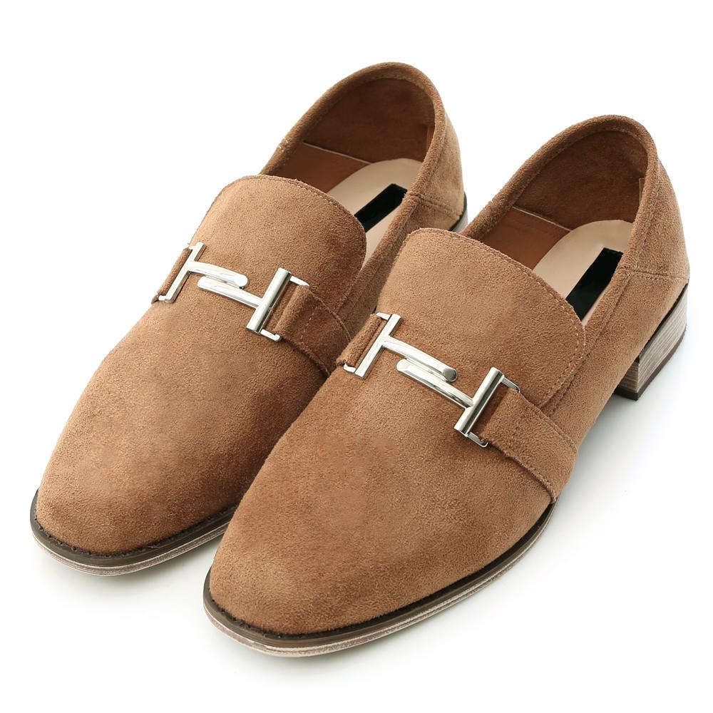 D+AF 個性文青.金屬銜釦後踩式二穿紳士鞋*棕