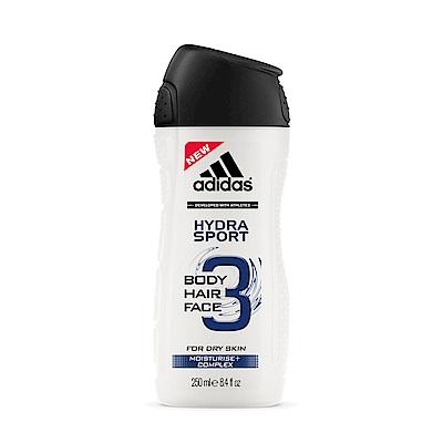adidas愛迪達 男用三效保濕潔顏洗髮沐浴露250ml