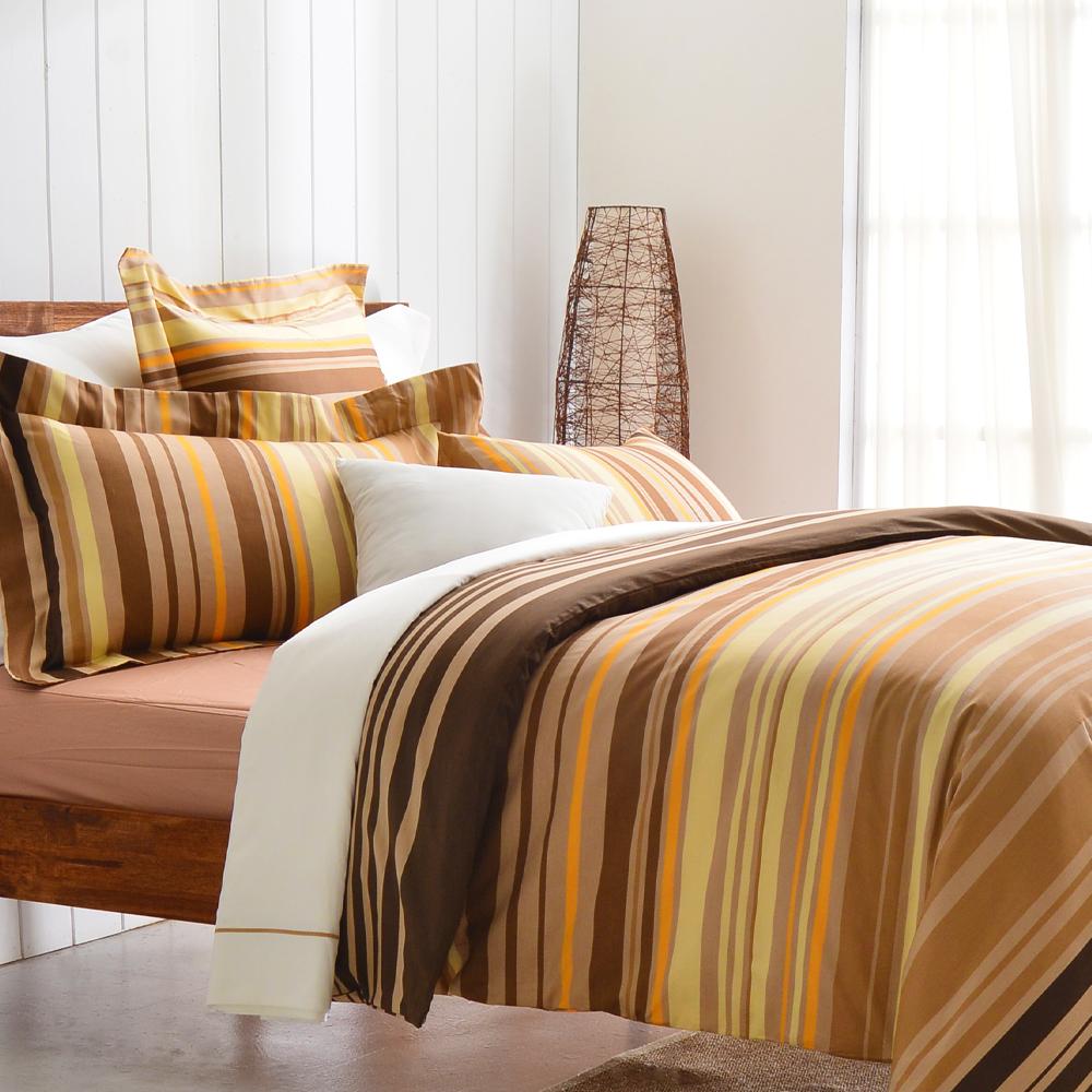 Cozy inn 舞曲-咖 200織精梳棉四件式兩用被床包組(雙人)
