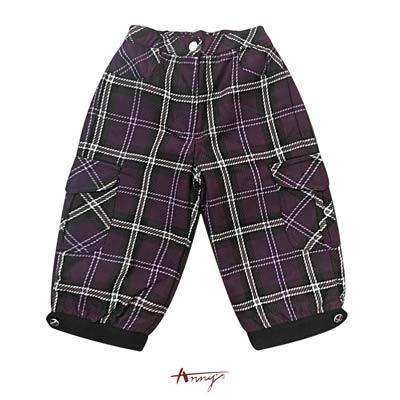 Anny英倫格紋金釦雙口袋造型長褲*1270紫