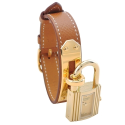 HERMES Kelly系列經典金色鎖頭荔枝紋牛皮單圈石英女仕錶(金x金)3153083