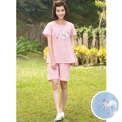 華歌爾睡衣Pretty Amy 印花 M-L 短袖五分褲家居服(甜美藍)