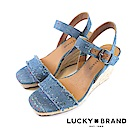 LUCKY BRAND--單寧風一字繫帶草編厚底楔型涼鞋-單寧藍