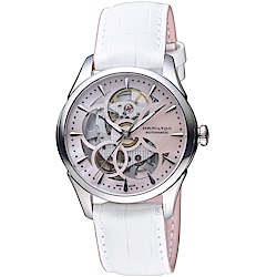 Hamilton漢米爾頓JAZZMASTER爵士系列花朵鏤空機械腕錶(H32405871)