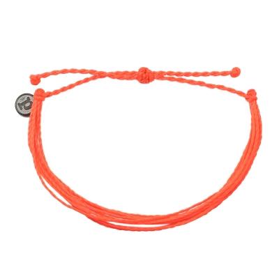 Pura Vida 美國手工 螢光色系橘色基本繽紛款 可調式手鍊衝浪海灘防水手繩