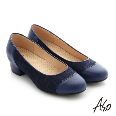 A.S.O 拇指外翻 真皮拼接針織布料奈米中跟鞋 藍色