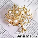 AnnaSofia 森林精靈樹 鑲珠別針(奢金)