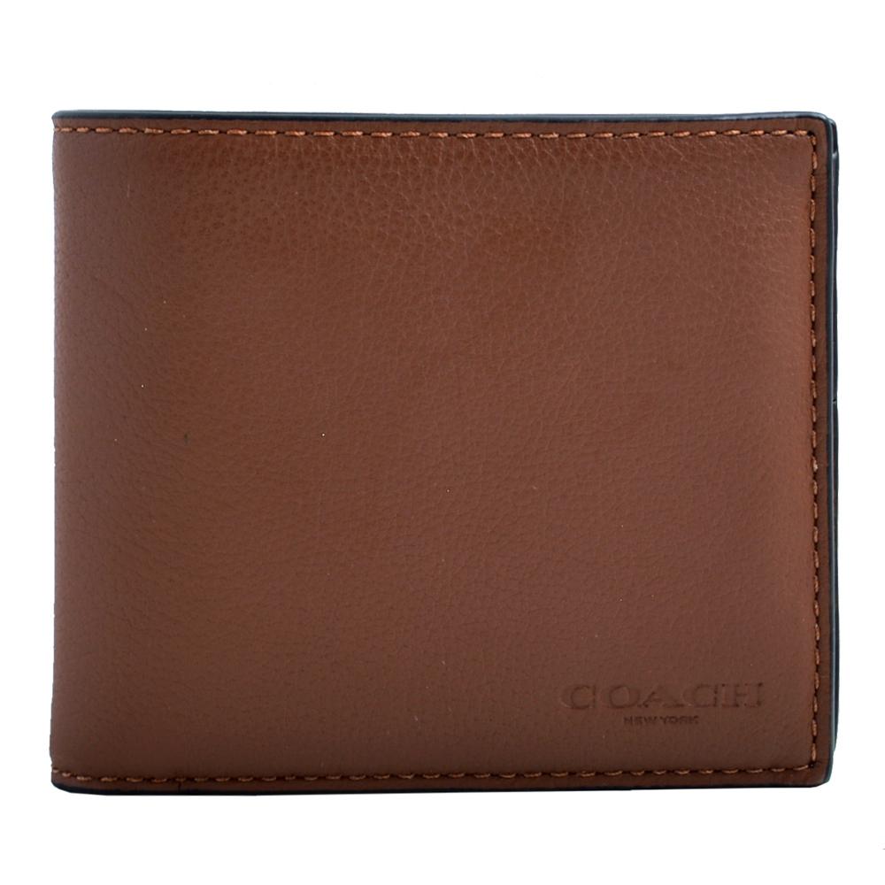 COACH 壓印LOGO簡約素面全皮革8卡短夾-咖啡(附一可拆卡夾)