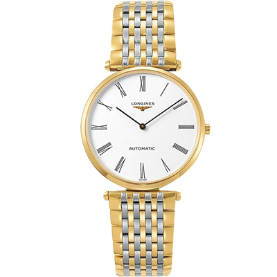 LONGINES 浪琴 La Grande 嘉嵐系列機械錶-白x雙色/36mm