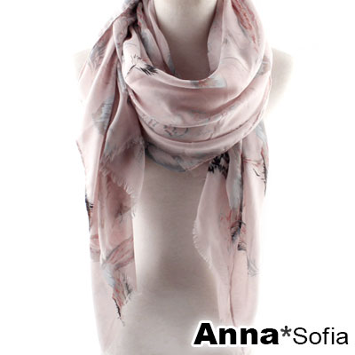 AnnaSofia-飄絲緞羽-高密度織毛邊披肩圍巾-淺粉