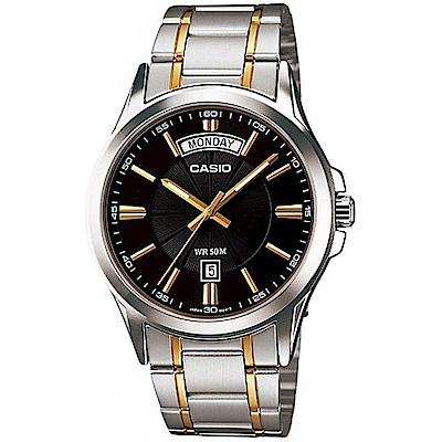 CASIO 時尚成熟型男羅馬字造型腕錶(MTP-1381G-1A)-黑