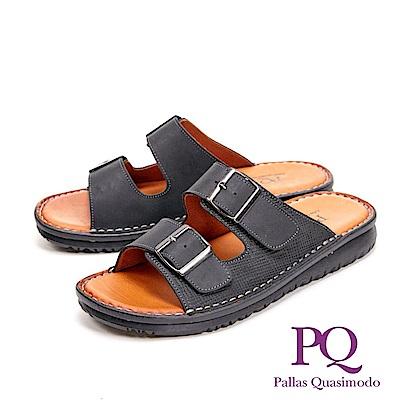 PQ調整式皮釦造型厚底 男拖鞋-黑