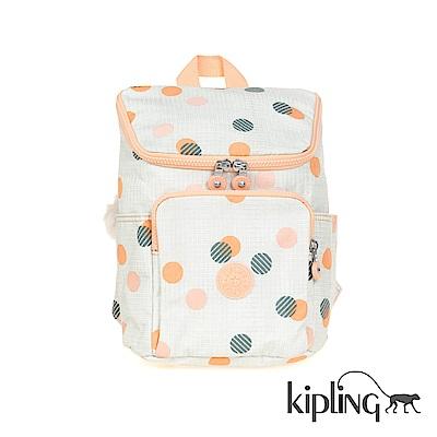 Kipling 後背包 清新橘圓點印花-小