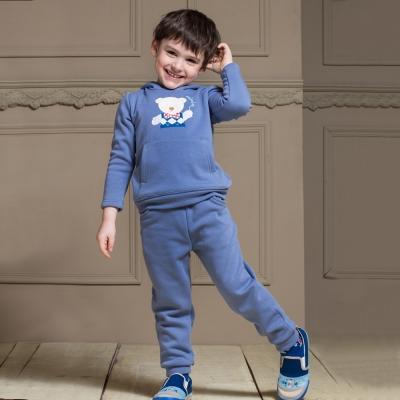 愛的世界 MYBABY 小熊兄弟內刷毛長袖套裝 2-4歲