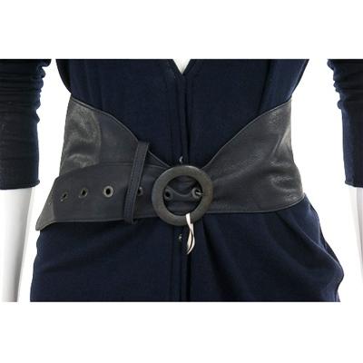 SCHUMACHER 深藍色皮革寬版腰帶