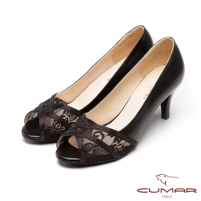CUMAR優雅拼接-優雅魚口透膚蕾絲拼接露趾高跟鞋-黑