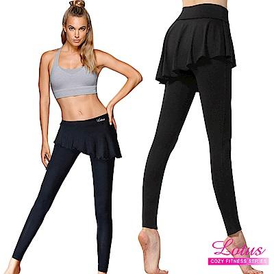 運動褲 超輕量絲柔假兩件運動褲裙 超值兩入組 LOTUS