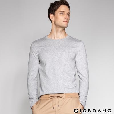 GIORDANO 男裝簡約素色基本款磨毛圓領長袖T恤 - 02 中花灰