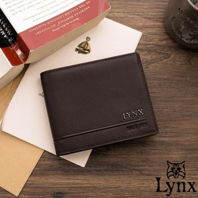 Lynx - 山貓簡約紳士真皮款5卡1照短夾-共2色