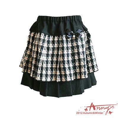 千鳥格雙層百摺短裙*黑