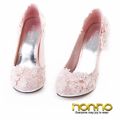 nonno-甜美佳人-鏤花蕾絲細高跟鞋-粉