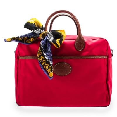 Longchamp Le Pliage多功能尼龍手提兩用旅行袋-玫瑰紅(加贈帕巾)
