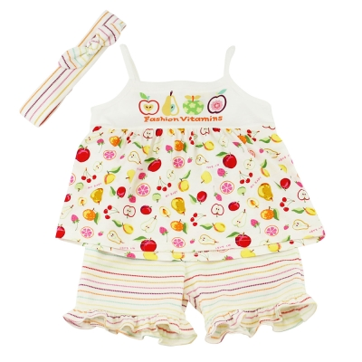 愛的世界 MYBABY 純棉水果百匯細肩帶套裝/1~4歲
