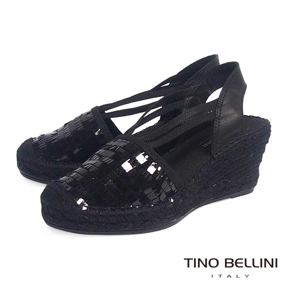 Tino Bellini 西班牙進口耀眼添足麻底楔型鞋_黑