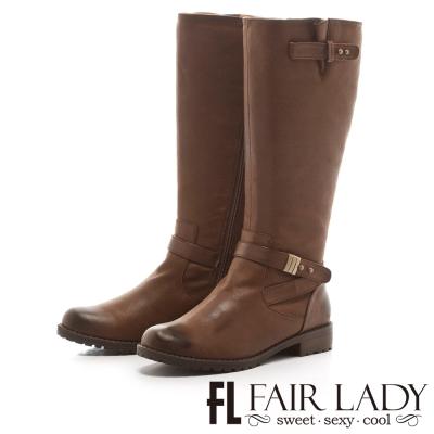 Fair Lady 高雅紳士交叉扣帶長筒靴 咖啡