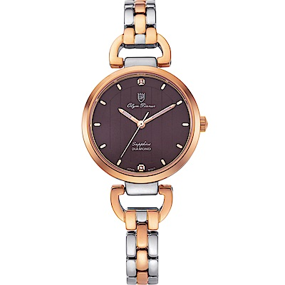 Olym Pianus 奧柏表 典雅直線壓紋時尚腕錶-雙色x咖啡 2483LSR