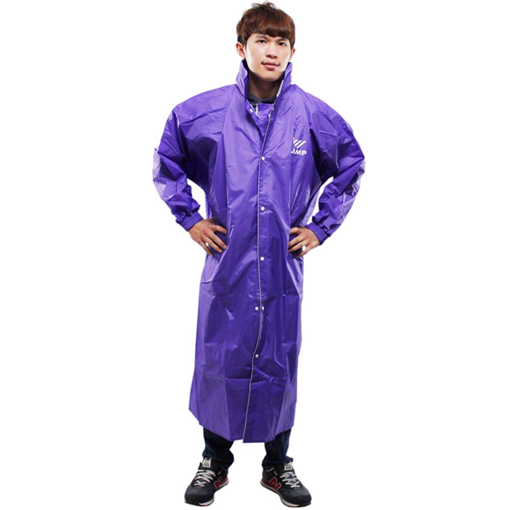 [快]新二代 JUMP前開素色休閒風雨衣-紫色
