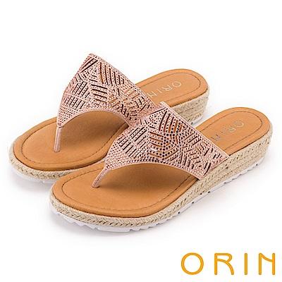ORIN 魅力新時尚 線條簍空燙鑽夾腳麻邊厚底拖鞋-粉色
