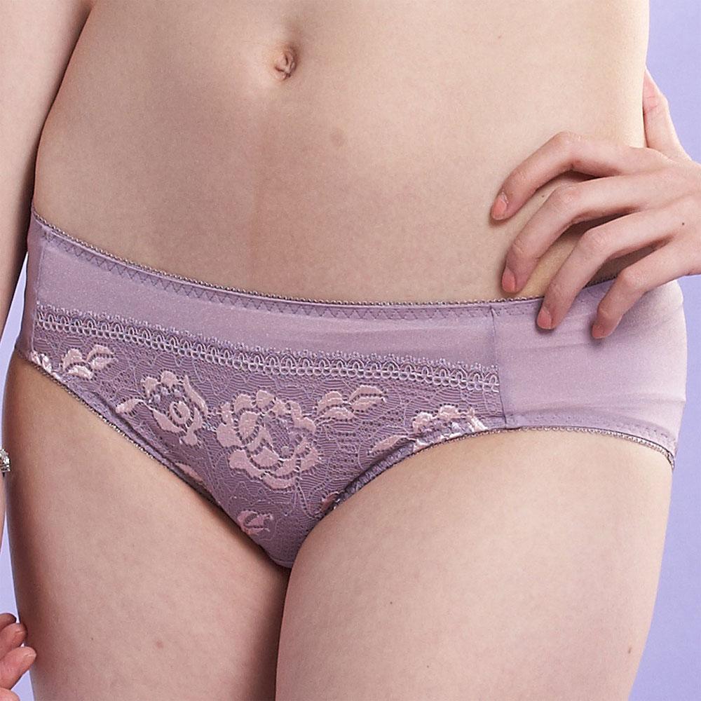 莎薇-側魔翼M-LL中腰三角褲(桔梗紫)
