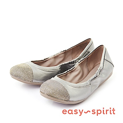 Easy Spirit--極簡360度翻摺娃娃平底鞋- 霧銀灰