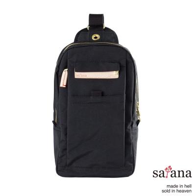 satana - 街頭時尚斜肩包 - 黑色
