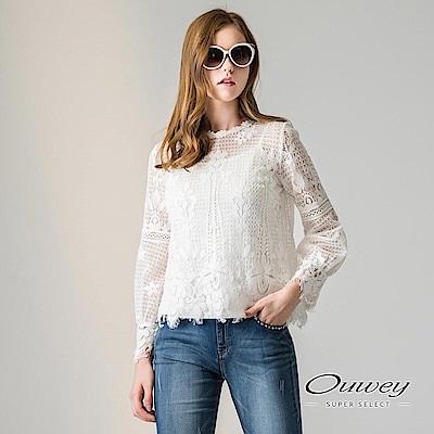 OUWEY歐薇 甜美花卉蕾絲兩件式上衣(白)-動態show
