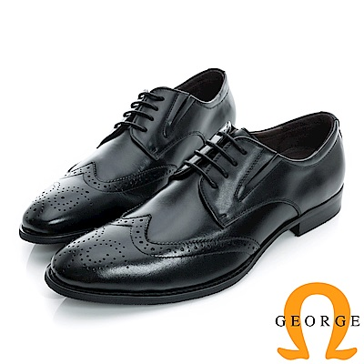 GEORGE-側V切口雕花綁帶真皮牛津紳士鞋-黑色