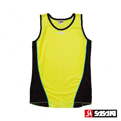 SASAKI-吸濕排汗專業田徑背心-女-艷黃-黑