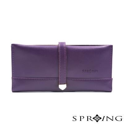 SPRING-牛皮英倫美學極簡長夾-紫