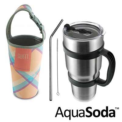 美國AquaSoda 304不鏽鋼雙層保溫保冰杯買一送五